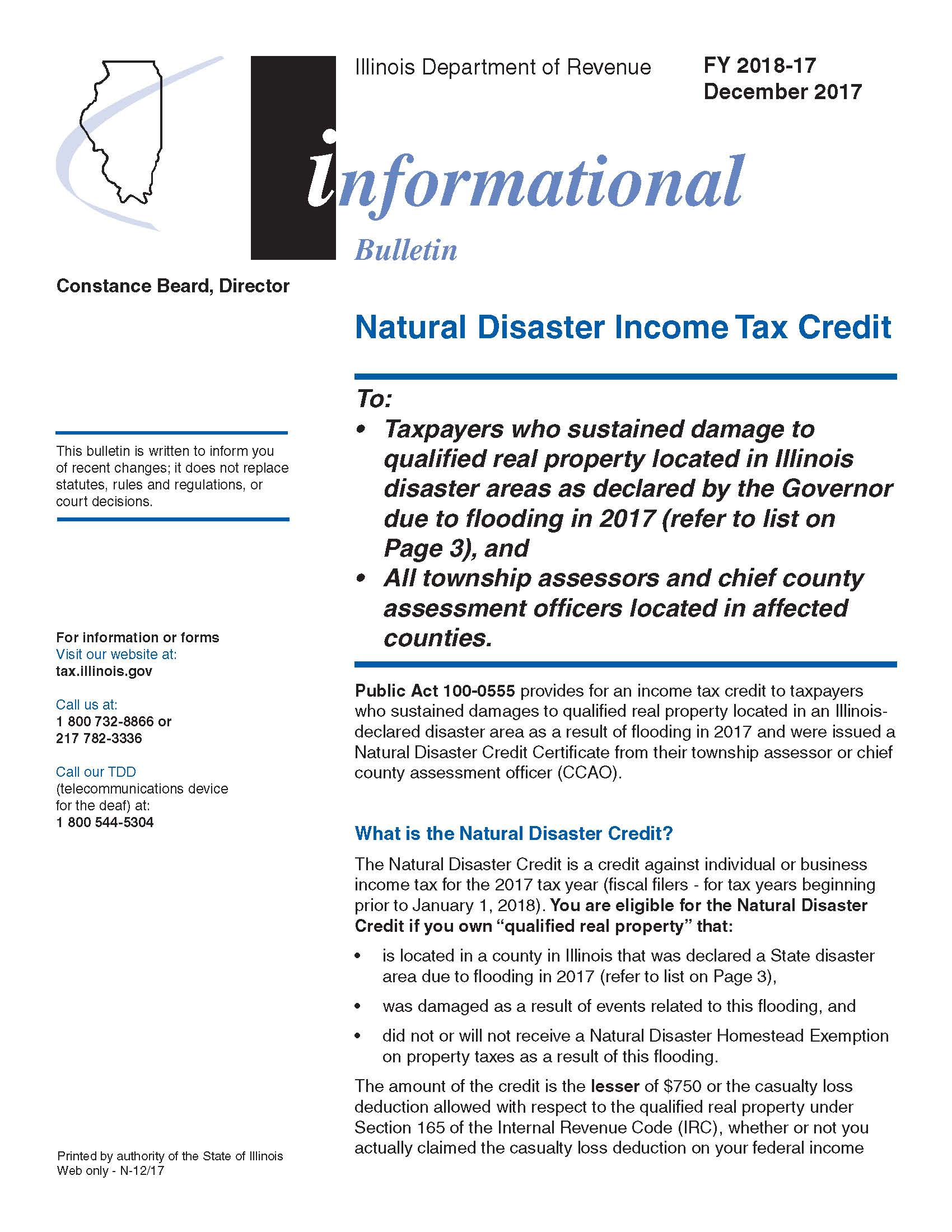 Tax Credit for 2017 Flood Victims Public Awareness Natural