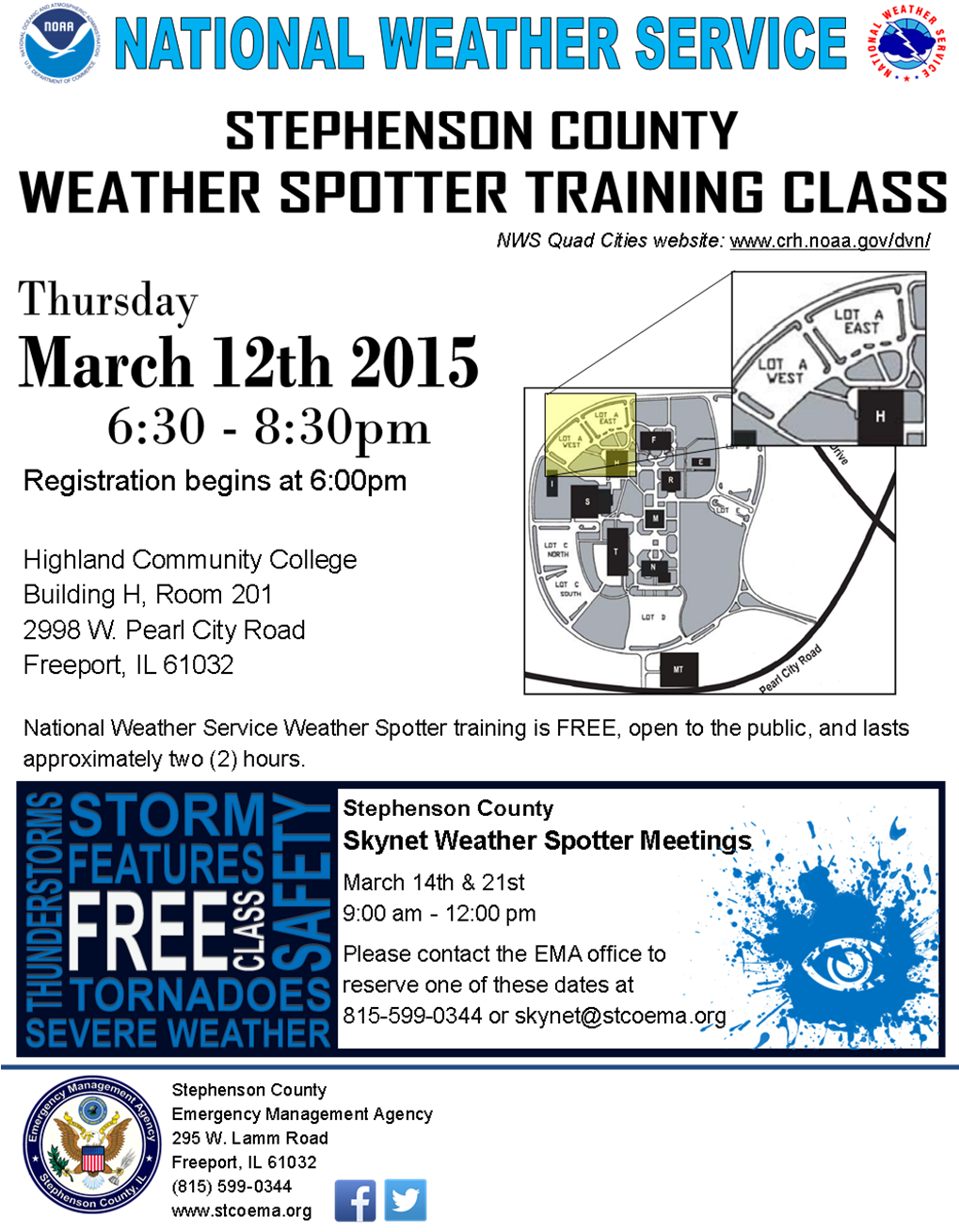 National Weather Service Spotter Training Flyer 2015